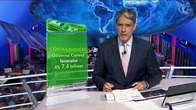 Brasil gasta muito e não paga dívida pública - Em fevereiro de 2015, o Governo Brasileiro gastou mais do que arrecadou e não conseguiu economizar nada pra pagar os juros da dívida pública. A conta que reúne a Previdência Social, o Banco Central e o Tesouro Nacional fechou negativa R$ 7,4 bilhões.