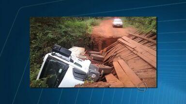 Ponte cai e isola comunidade rural em Nova Olímpia (MT) - Comunidade rural em Nova Olímpia está quase sem acesso para a cidade. Uma ponte caiu e outras serão interditadas.