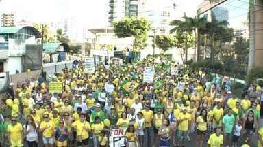Manifestação fecha a 3ª Ponte e milhares vão à praça em Vitória - Organização estima 35 mil pessoas no protesto; PM diz 30 mil.Ato também aconteceu em Cachoeiro, Colatina e Linhares.
