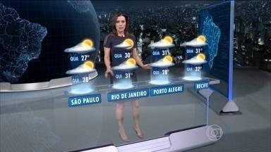 Terça-feira (14) será de chuva é várias partes do Brasil - Há previsão de chuva na faixa que vai do Amapá ao Rio Grande do Norte. É possível que haja temporais ainda do Amazonas ao Mato Grosso do Sul, e ainda no norte de São Paulo e no Triângulo Mineiro.