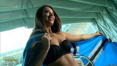 Confira o 'making of' do ensaio da musa do Grêmio - Assista ao vídeo.