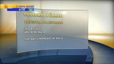 Estão abertas as inscrições para concurso público na Prefeitura de Alvorada, RS - São 76 vagas de níveis fundamental, médio e técnico e 40 para nível superior.