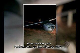 Bimotor faz pouso forçado próximo à cabeceira da pista do aeroporto de São Félix do Xingu - A aeronave faz transporte para aldeias indígenas, garimpos e fazendas da região. A polícia vai investigar as causas do acidente.
