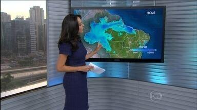Previsão é de chuva em Sergipe, e entre Rondônia, oeste de Mato Grosso e Maranhão - A semana começa com o tempo firma do norte de São Paulo até o sul do Paraná e no Rio Grande do Norte. Há chance de pancadas de chuva entre o norte de Goiás e o sul do Tocantins, e no litoral de Salvador até a Paraíba.