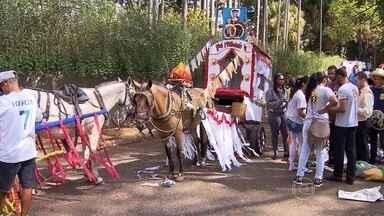 Está aberta a temporada das festas juninas em Belo Horizonte - Um cortejo junino foi realizado no Parque Municipal. Carroças enfeitadas desfilaram até a Praça da Estação.