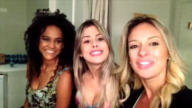 Carol Soares e Mayara Araújo fazem farra nos bastidores com candidatas ao Balé - Veja a festa das loiras nos estúdios da Globo em São Paulo