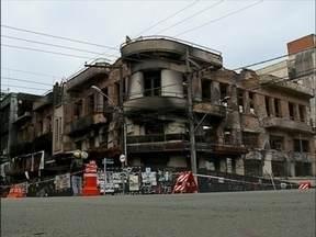 Quase metade da estrutura do prédio Ughini já foi demolida - O trabalho deve seguir até a próxima semana