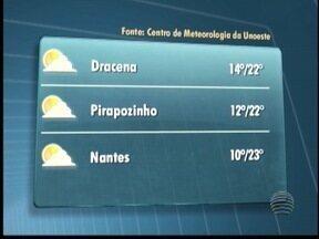 Meteorologia prevê tempo firme no Oeste Paulista - Manhãs e noites devem permanecer frias.