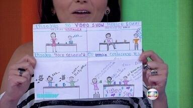 Monica Iozzi exibe desenho de fã com micos do Vídeo Show - A apresentadora relembra momentos marcantes na bancada