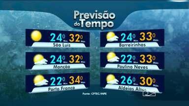 Veja a previsão do tempo para esta sexta-feira (17) - A umidade vinda do mar provoca chuva a qualquer hora do dia no norte do Maranhão.