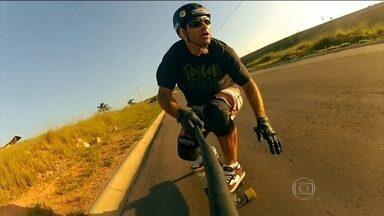 Família apaixonada por velocidade se une pelo skate downhill speed - Estilo é conhecido como a Fórmula 1 da modalidade.