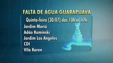 Amanhã vai faltar água em alguns bairros de Guarapuava - O abastecimento vai ser interrompido no período da tarde pra que a Sanepar realize alguns serviços de manutenção.