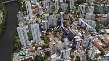 Recife tem interdição no trânsito no bairro das Graças devido a obra da Compesa - Bloqueio deve se estender por quinze dias.
