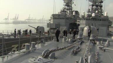 Navios da Marinha japonesa chegam a Santos, SP - Eles ficarão abertos ao público