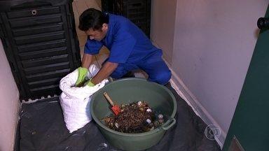 Condomínios participam de projeto de reciclagem de lixo orgânico na capital - Os moradores separam os restos de comida, que são aproveitados no processo de compostagem. Depois, o material é usado como adubo nas plantas.