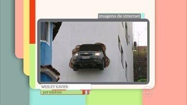 Zeca Camargo mostra vídeo com acidente de carro inusitado - Wesley Xavier perdeu o controle do carro e 'atravessou' a parede do prédio onde mora no Espírito Santo. O carro ficou pendurado na estrutura da construção durante 40 minutos.