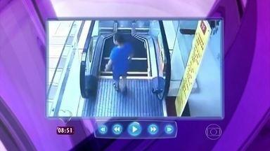 Mais Você faz alerta para o mau uso das escadas rolantes - Confira imagens impressionantes de acidentes com crianças