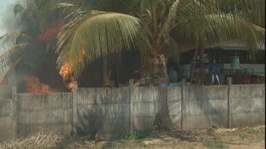 Incêndio em pastagem quase atinge garagem de ônibus em Ji-Paraná - Fogo começou na manhã deste domingo (23) em um terreno.Além de ônibus, local é usado como estoque de combustível.