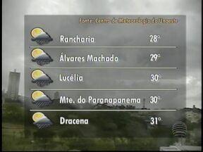 Tempo deve continuar instável e com possibilidade de chuva - Confira a previsão do tempo para as principais cidades do Oeste Paulista.