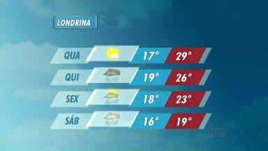 A quarta-feira deve ser sem chuva na região de Londrina - Novas áreas de instabilidade se aproximam da região e podem trazer mais chuva a partir de quinta-feira.