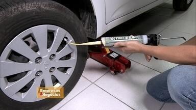 Franquia traz pro Brasil a blindagem de pneus - Produto foi criado para enfrentar batalhas. Setor não conhece crise e é impulsionado pelo crescimento de 85% da frota de veículos do país nos últimos dez anos.