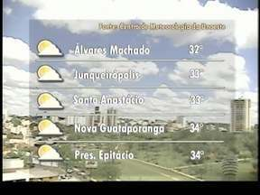 Umidade relativa do ar deve chegar aos 64% no Oeste Paulista - Sol predomina na maioria das cidades da região.