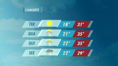 Previsão de muito calor para Cianorte nos próximos dias - Apesar das temperaturas mais altas, deve voltar a chover em toda a região a partir de quarta-feira (07).