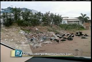 Moradores flagram vazamento em Macaé e acúmulo de lixo em terreno de Itaperuna - Vídeo e foto foram enviados para o VC no RJ.