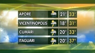 Confira a previsão do tempo para todo estado de Goiás - Em Cumari, a previsão é de temperaturas entre 20ºC e 33ºC.