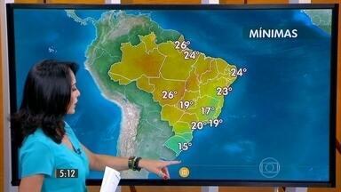 Confira como fica o tempo nesta sexta-feira (9) em todo o Brasil - A previsão é de chuva forte, principalmente a partir da tarde, no Mato Grosso do Sul, em Mato Grosso e São Paulo. Entre a Bahia e Alagoas deve ter chuva fraca no litoral.