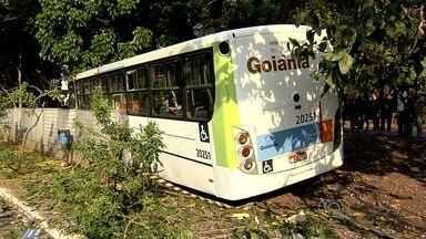 Ônibus desgovernado atinge carro e bate em árvore, em Goiânia - Segundo PM, passageiros disseram que motorista passou mal ao volante. Cinco ocupantes do ônibus, além do condutor do carro ficaram feridos.