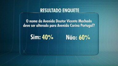 60% dos participantes da enquete dizem que a Av. Vicente Machado não deve mudar de nome - Um grupo de historiadores sugere que a principal avenida da cidade receba o nome de Avenida Corina Portugal