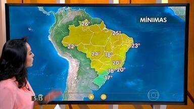 Confira como fica o tempo nesta quinta-feira (5) em todo o Brasil - Imagens de satélite mostram nuvens concentradas entre o Norte e o Centro-Sul. Tem alerta para temporais com raios no estado de São Paulo e na capital tem risco de alagamentos de novo.