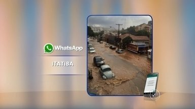 Chuva causa estragos e queda de árvores em Itatiba - Em Itatiba (SP), também teve alagamento, destelhamento de casas e queda de árvores. A chuva durou vinte minutos, mas foi o suficiente pra provocar uma enxurrada. Segundo os bombeiros, foram registradas 30 quedas de árvores.
