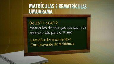 Veja as datas de matrículas de alunos da rede municipal em Umuarama, Cianorte e Paranavaí - Os pais de alunos que estudam ou querem se matricular na rede municipal de ensino devem ficar atentos às datas.