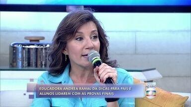 Andrea Ramal dá dicas para pais e alunos lidarem com provas finais - Flávia é mãe de Gabriel e teme que o filho seja reprovado na escola