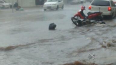 Alagamentos causam reclamações entre comerciante da Avenida Dom Pedro I - Lojistas reclamam da falta de manutenção nas bocas de lobo. Toda as vezes que chove, a enxurrada invade tudo.