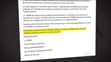 Temer diz que carta para a presidente Dilma Rousseff é um desabafo - Vice-presidente diz que tem demonstrado lealdade. Mas que passou os quatro primeiros anos do governo como vice decorativo.