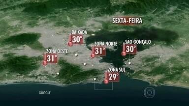 Rio pode ter chuva a qualquer momento desta sexta-feira (11) - Ainda fica abafado, mas a temperatura cai na sexta-feira. A máxima não deve passar dos 31 graus na Região Metropolitana.