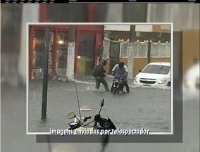 Chuva depois de tempo abafado deixa pontos de alagamento na Região dos Lagos do Rio - Sensação térmica em Cabo Frio chegou aos 58°C.