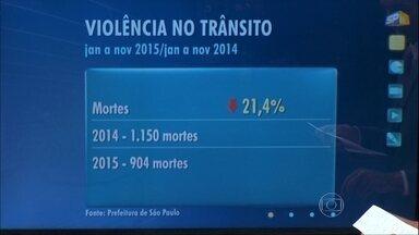 Levantamento da CET aponta redução no número de mortes de trânsito - O estudo mostra queda no número de mortes no trânsito nos meses de janeiro a novembro de 2015 em comparação com o mesmo período 2014. A Prefeitura atribui o resultado principalmente à redução do limite de velocidade em várias ruas e avenidas da cidade.