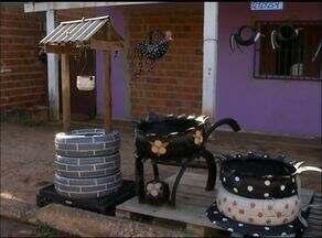 Homem aproveita pneus abandonados para fazer objetos de decoração em Araguaína - Homem aproveita pneus abandonados para fazer objetos de decoração em Araguaína