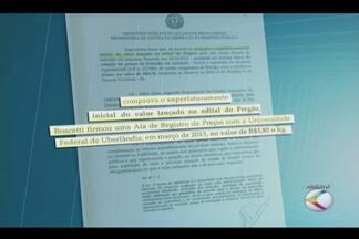 Justiça manda bloquear bens de secretária de Educação de Uberlândia - Liminar também determinou o bloqueio de contas de outras três pessoas. Decisão ocorre após inquérito do MP sobre carne de frango para merenda.