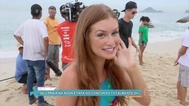 Cassandra e Eliza passam perrengue na nova etapa do concurso Totalmente D+ - Marina Ruy Barbosa grava cena em que sua personagem sofre um afogamento. Juliana Paiva mostra a maquiagem que teve que fazer para parecer muito queimada de sol em 'Totalmente Demais'