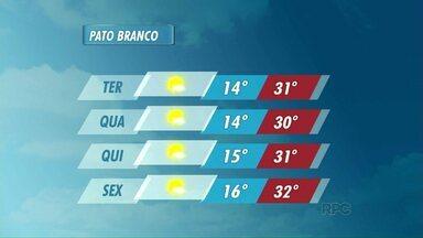 Confira a previsão do tempo para Pato Branco - O sol predomina nos próximos dias na cidade.