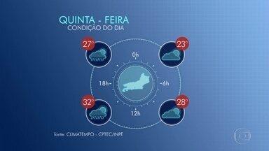 Veja a previsão do tempo para esta quinta-feira (24) no Rio - Ao longo da tarde desta quinta-feira (24), o tempo vai mudar, e pode ter chuva fraca na região metropolitana do Rio. Já na região serrana pode chover forte. A temperatura chega aos 32ºC.