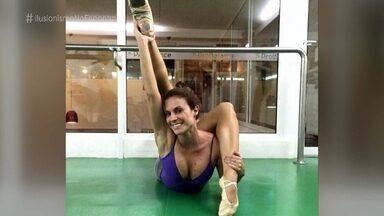 Maíra Charken revela segredo de foto de contorcionismo - Apresentadora reproduz pose no palco do 'Encontro'