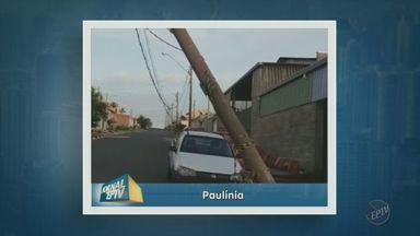 Poste inclinado preocupa moradores de Paulínia - O poste foi puxado para baixo durante uma chuva forte na cidade.