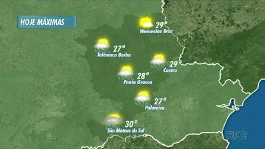Previsão de pancadas de chuva para a tarde de sexta-feira em Ponta Grossa - Região dos Campos Gerais tem previsão de chuva. No norte pioneiro céu parcialmente nublado hoje.