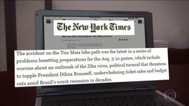 Tragédia na ciclovia da Niemeyer repercute na imprensa internacional - O New York Times reproduziu uma reportagem da Associated Press e diz que o acidente é o último em meio a uma série de problemas na preparação dos Jogos. A CNN destacou que as mortes ocorreram horas depois que a Tocha Olímpica foi acesa na Grécia.